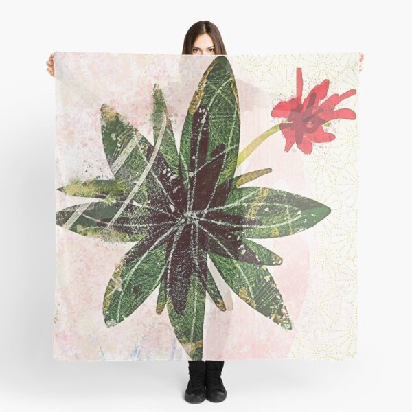 red flower succulent Scarf