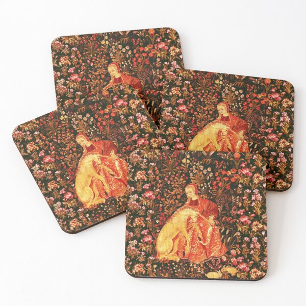 LADY AND UNICORN AMONG FLOWERS ,HARES,Red Brown Green Floral Coasters (Set of 4)