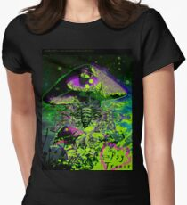 Psychedelic Mushroom Love Womens Fitted T-Shirt