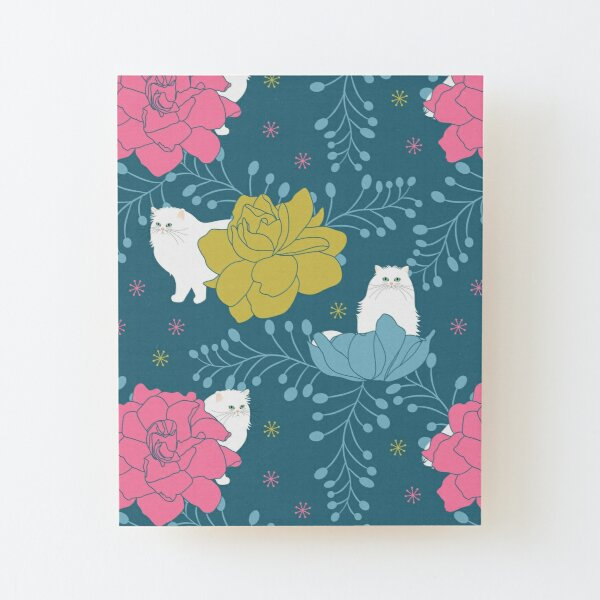 Persian Cat and Colorful Flowers Wood Mounted Print