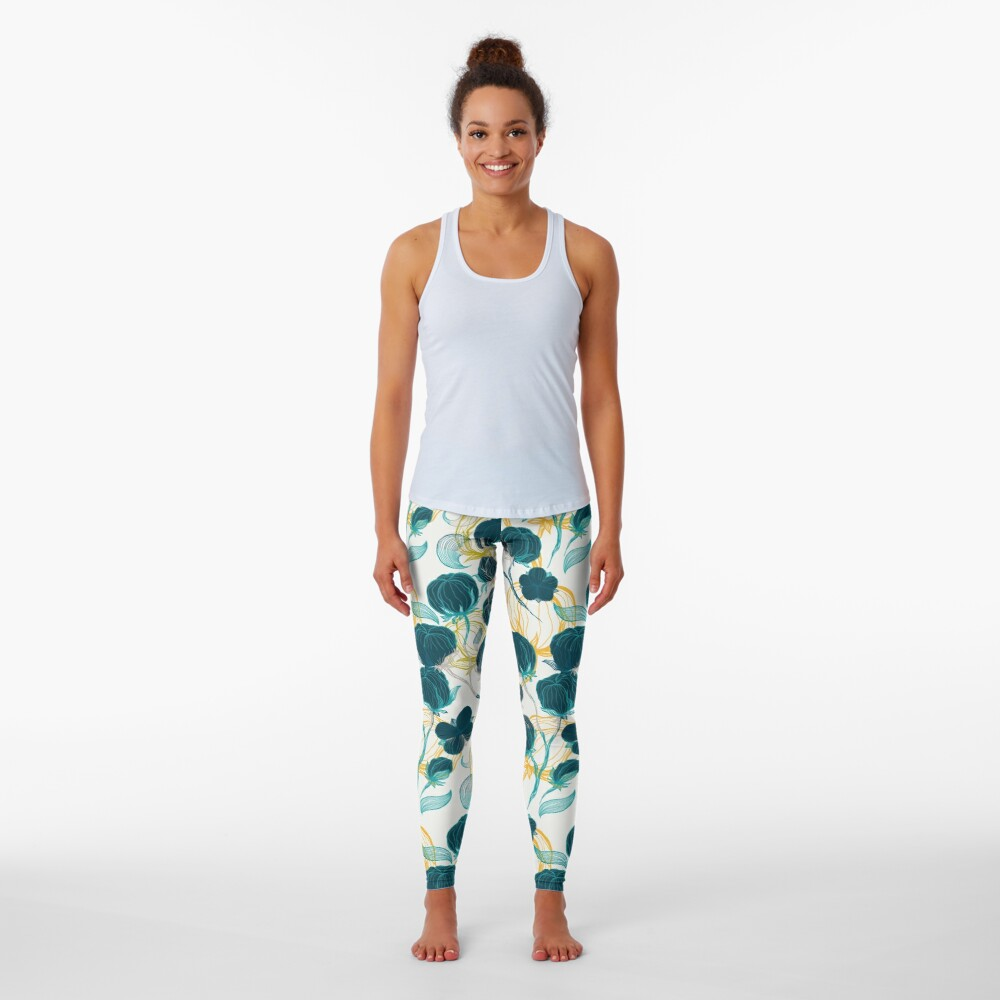Vintage blue chill and cyprus cotton pattern Leggings