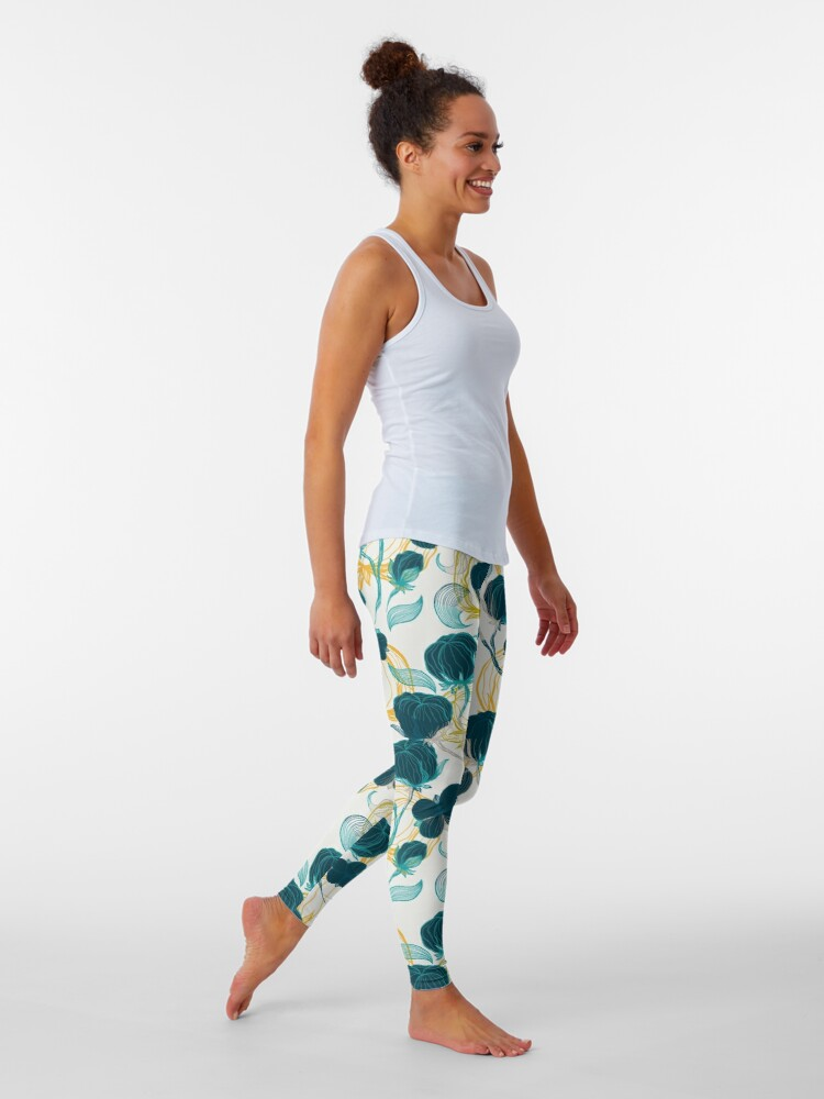 Alternate view of Vintage blue chill and cyprus cotton pattern Leggings