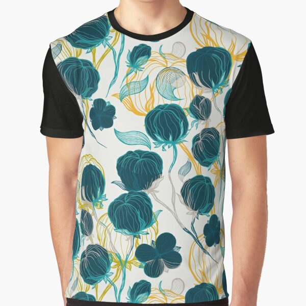 Vintage blue chill and cyprus cotton pattern Graphic T-Shirt