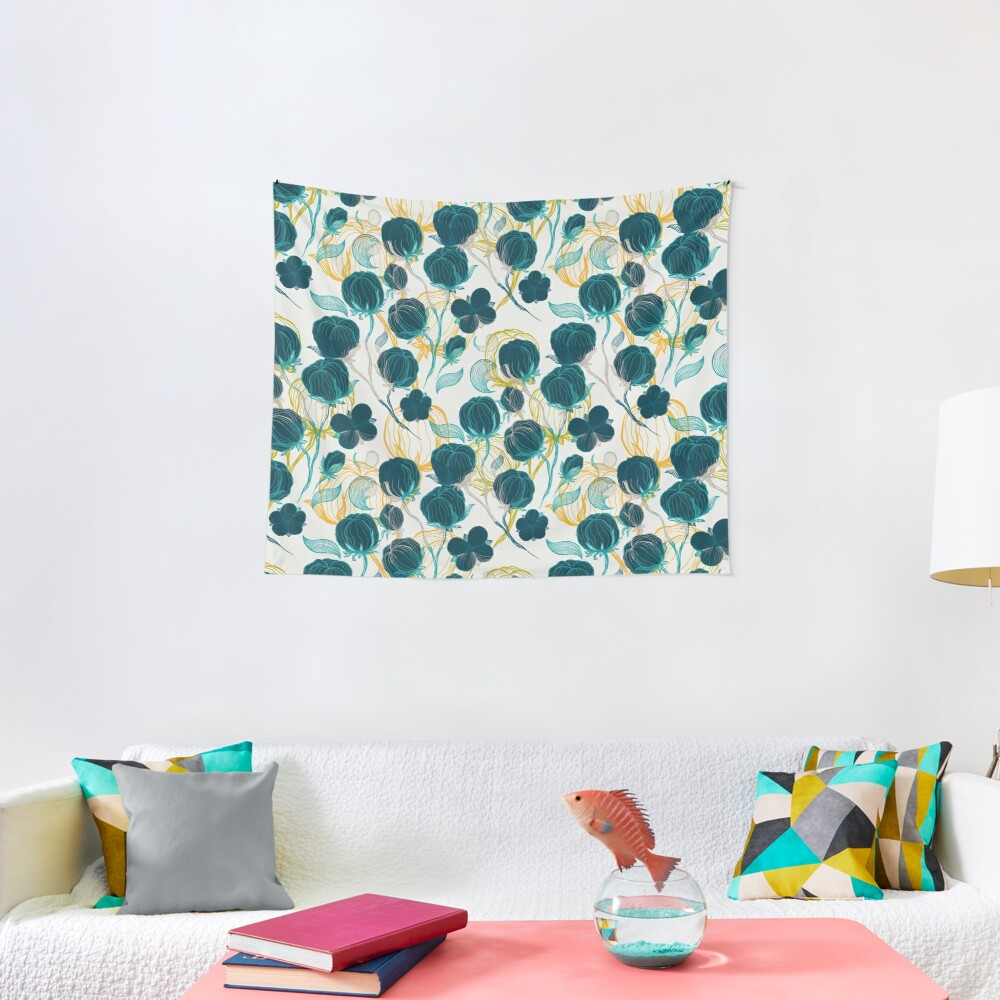Vintage blue chill and cyprus cotton pattern Tapestry