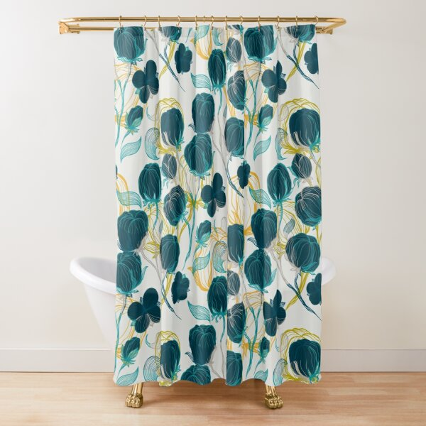 Vintage blue chill and cyprus cotton pattern Shower Curtain