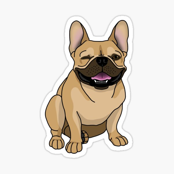 Winking Frenchie, Fawn/Tan Sticker