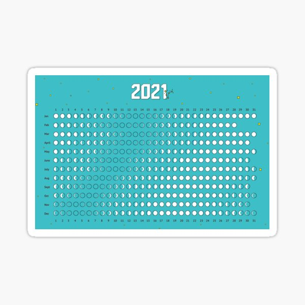 Moon Calendar 2021 Sticker