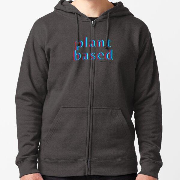 Plant-Based Neon Bold - Design Dark Blue Zipped Hoodie