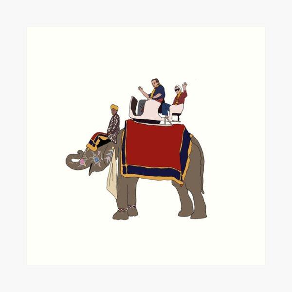 RBG and Scalia Elephant Ride- Ruth Bader Ginsburg and Antonin Scalia Ride Elephant Together Art Print