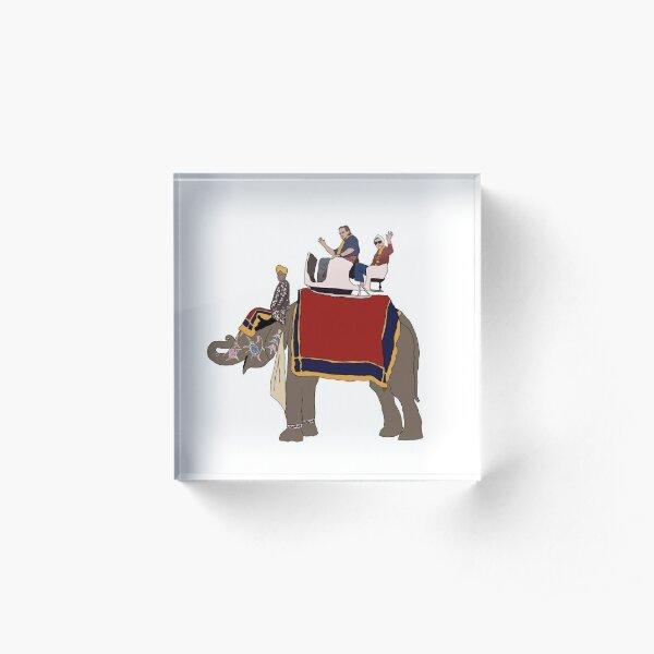 RBG and Scalia Elephant Ride- Ruth Bader Ginsburg and Antonin Scalia Ride Elephant Together Acrylic Block