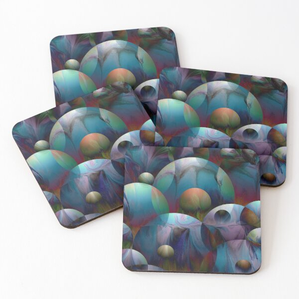 Orbs 2: round spheres abstract Coasters (Set of 4)