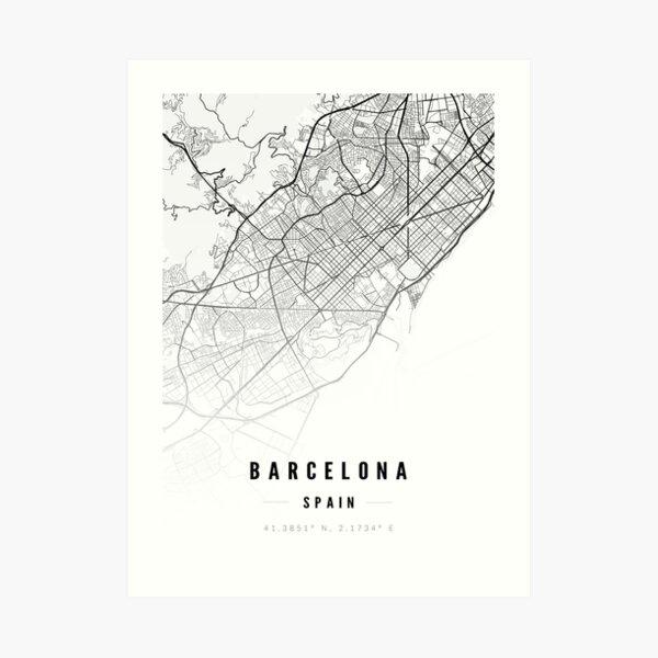 Barcelona Street Map Print Art Print