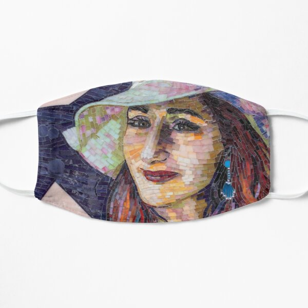 Mosaic portrait of a young woman with a sunhat on Flat Mask