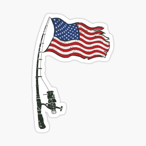 Fishing American Flag Sticker