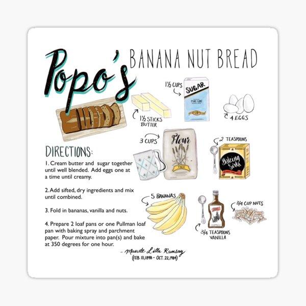 Illustrated Banana Bread Recipe Sticker
