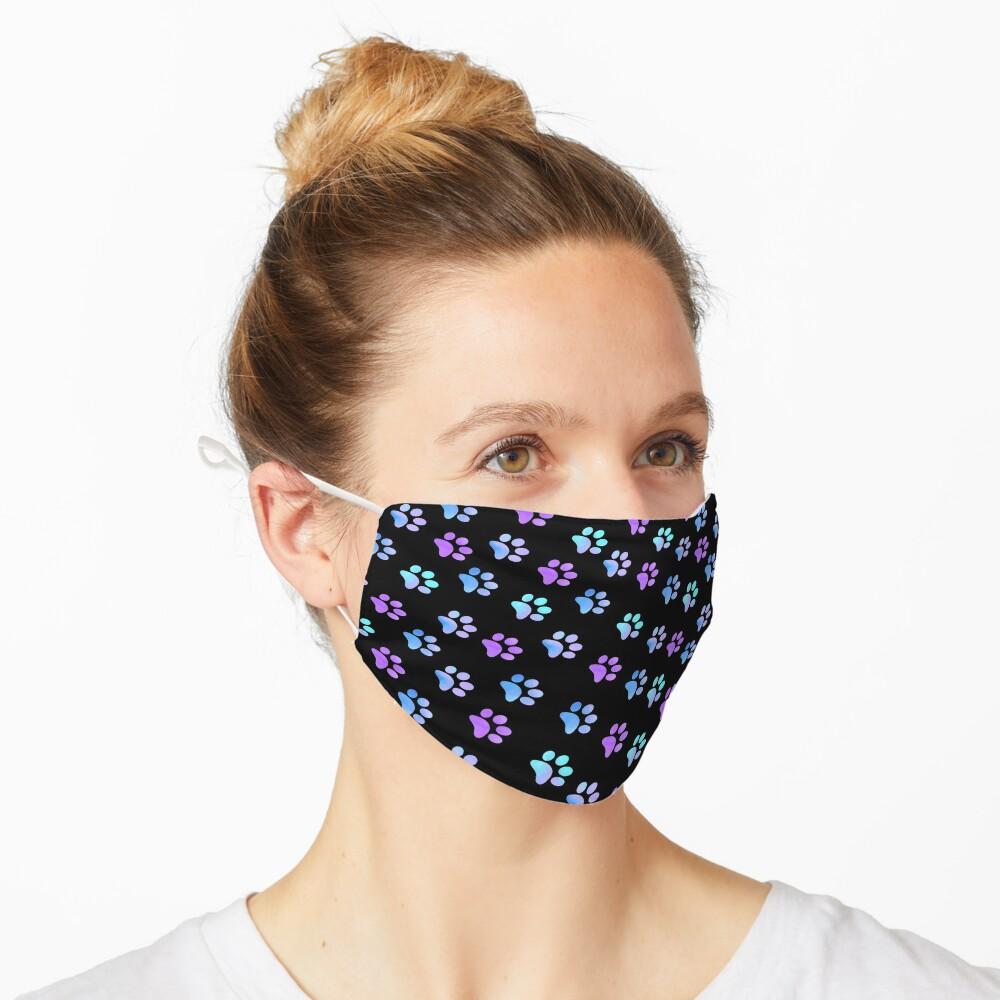Blue Purple Galaxy Paw Prints Mask