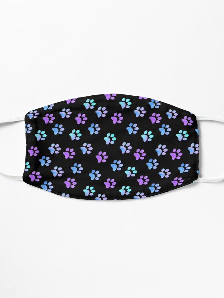 Alternate view of Blue Purple Galaxy Paw Prints Mask