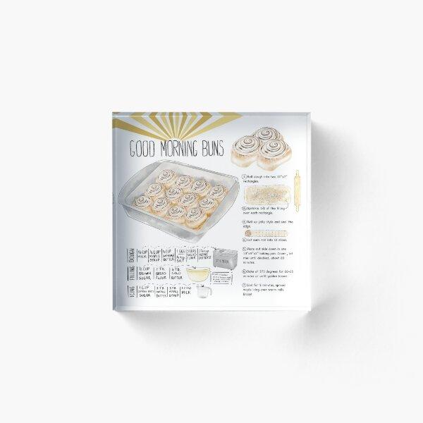 Illustrated Cinnamon Roll Recipe Acrylic Block