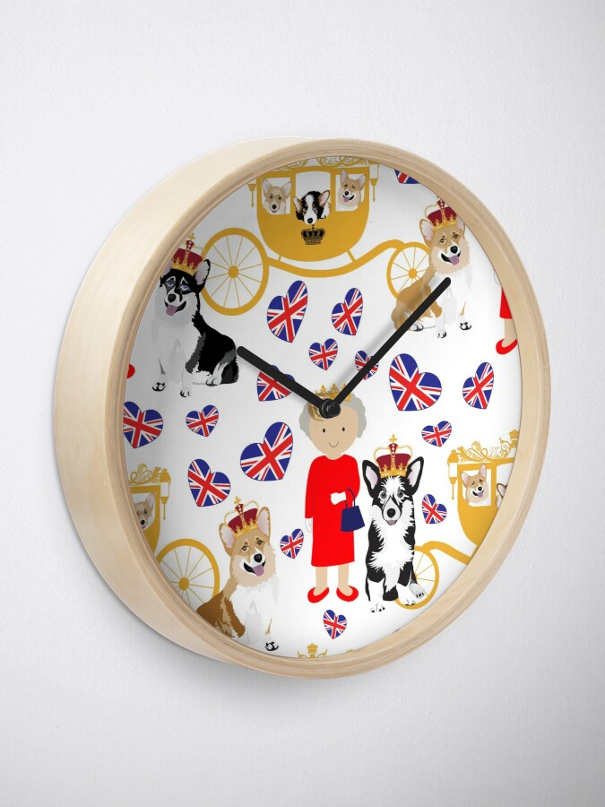 Alternate view of her highness queen elizabeth of the British Empire with the royal corgis - god save the queen - corgi pattern - queen elizabeth pattern white Clock