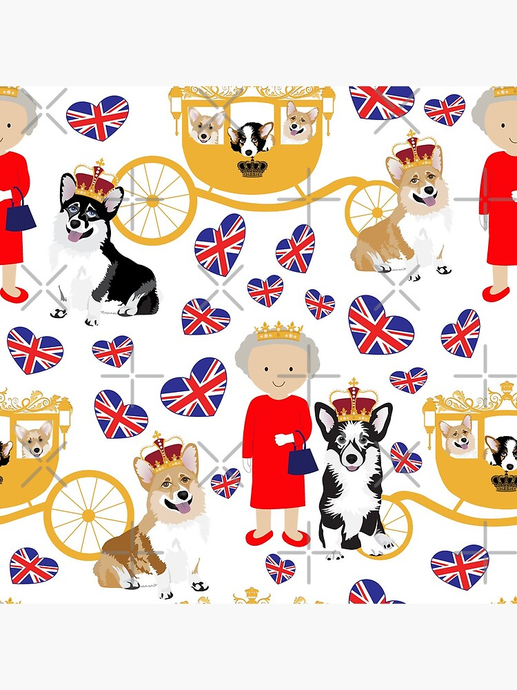 her highness queen elizabeth of the British Empire with the royal corgis - god save the queen - corgi pattern - queen elizabeth pattern white by Corgiworld