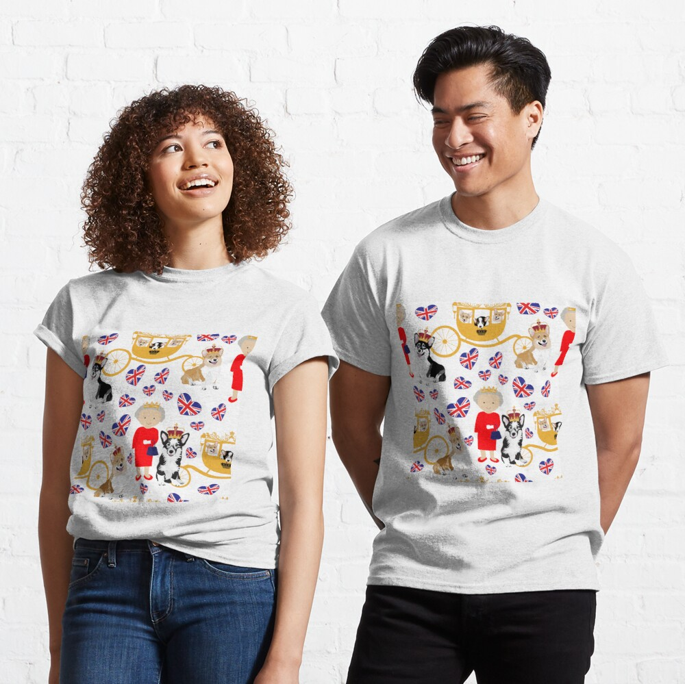 her highness queen elizabeth of the British Empire with the royal corgis - god save the queen - corgi pattern - queen elizabeth pattern white Classic T-Shirt