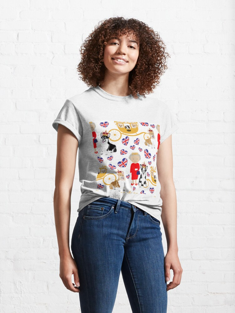 Alternate view of her highness queen elizabeth of the British Empire with the royal corgis - god save the queen - corgi pattern - queen elizabeth pattern white Classic T-Shirt