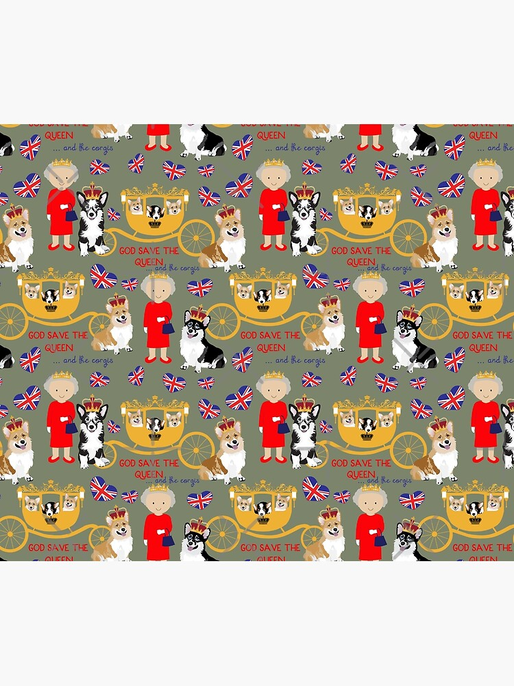 her highness queen elizabeth of the British Empire with the royal corgis - god save the queen - corgi pattern - queen elizabeth pattern grey by Corgiworld