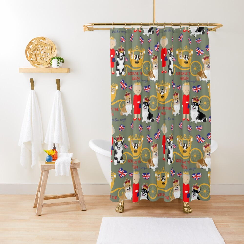 her highness queen elizabeth of the British Empire with the royal corgis - god save the queen - corgi pattern - queen elizabeth pattern grey Shower Curtain