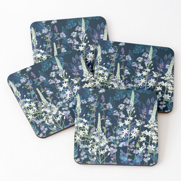 Blue Pattern, White Ornithogalum Flowers, Catmint & Forget-Me-Nots Coasters (Set of 4)