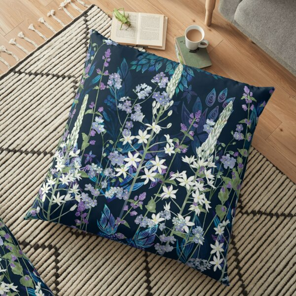 Blue Pattern, White Ornithogalum Flowers, Catmint & Forget-Me-Nots Floor Pillow