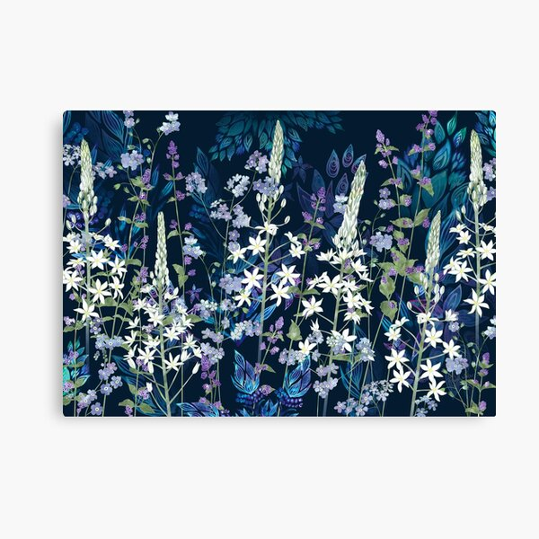 Blue Pattern, White Ornithogalum Flowers, Catmint & Forget-Me-Nots Canvas Print