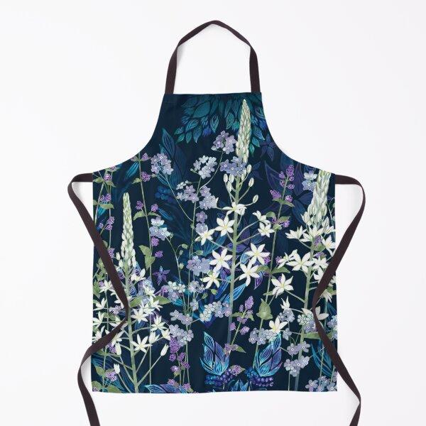 Blue Pattern, White Ornithogalum Flowers, Catmint & Forget-Me-Nots Apron