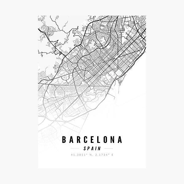 Barcelona Spain Street Map Print Photographic Print