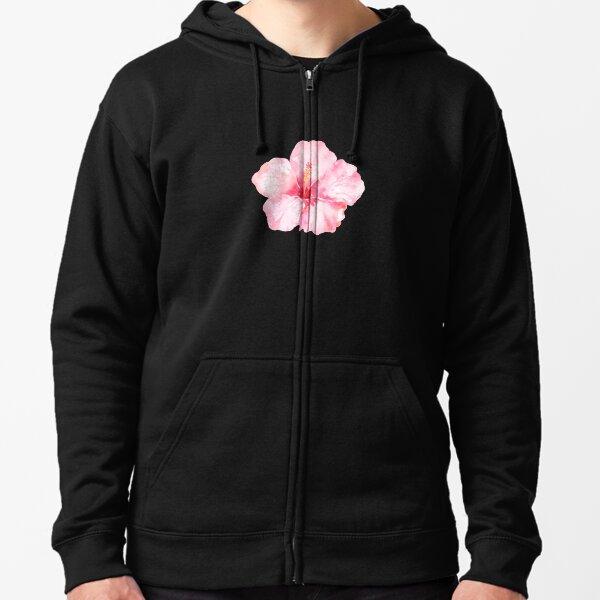 Peach Pink Hibiscus Tropical Flowers Zipped Hoodie