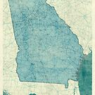Georgia State Map Blue Vintage by HubertRoguski