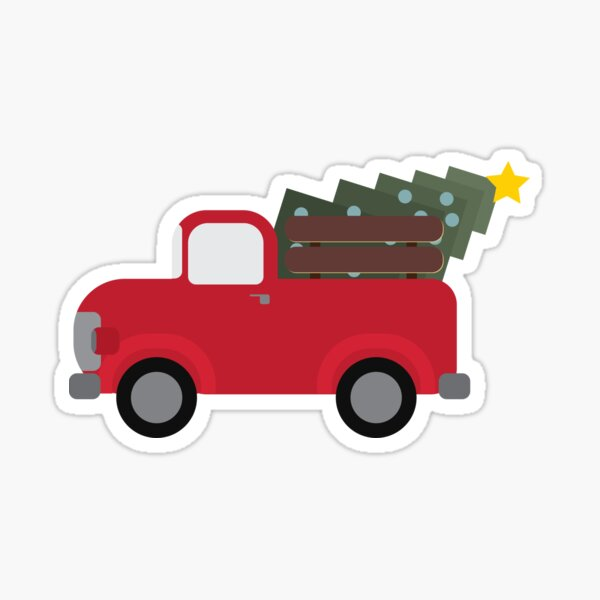 Old Christmas Truck, Cute Christmas Truck, Old Timey Truck for Christmas Sticker