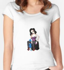 pin up and roses Women's Fitted Scoop T-Shirt