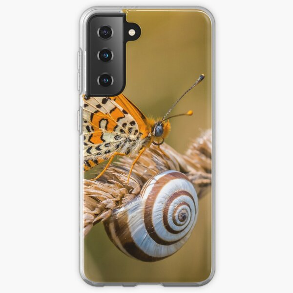 Butterfly (spotted fritillary) hanging out with a snail Samsung Galaxy Soft Case