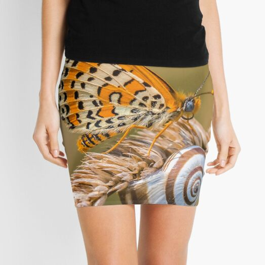 Butterfly (spotted fritillary) hanging out with a snail Mini Skirt