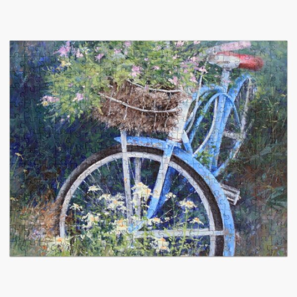 Blue Bicycle Between the Weeds Jigsaw Puzzle Jigsaw Puzzle