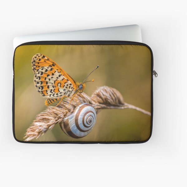 Butterfly (spotted fritillary) hanging out with a snail Laptop Sleeve