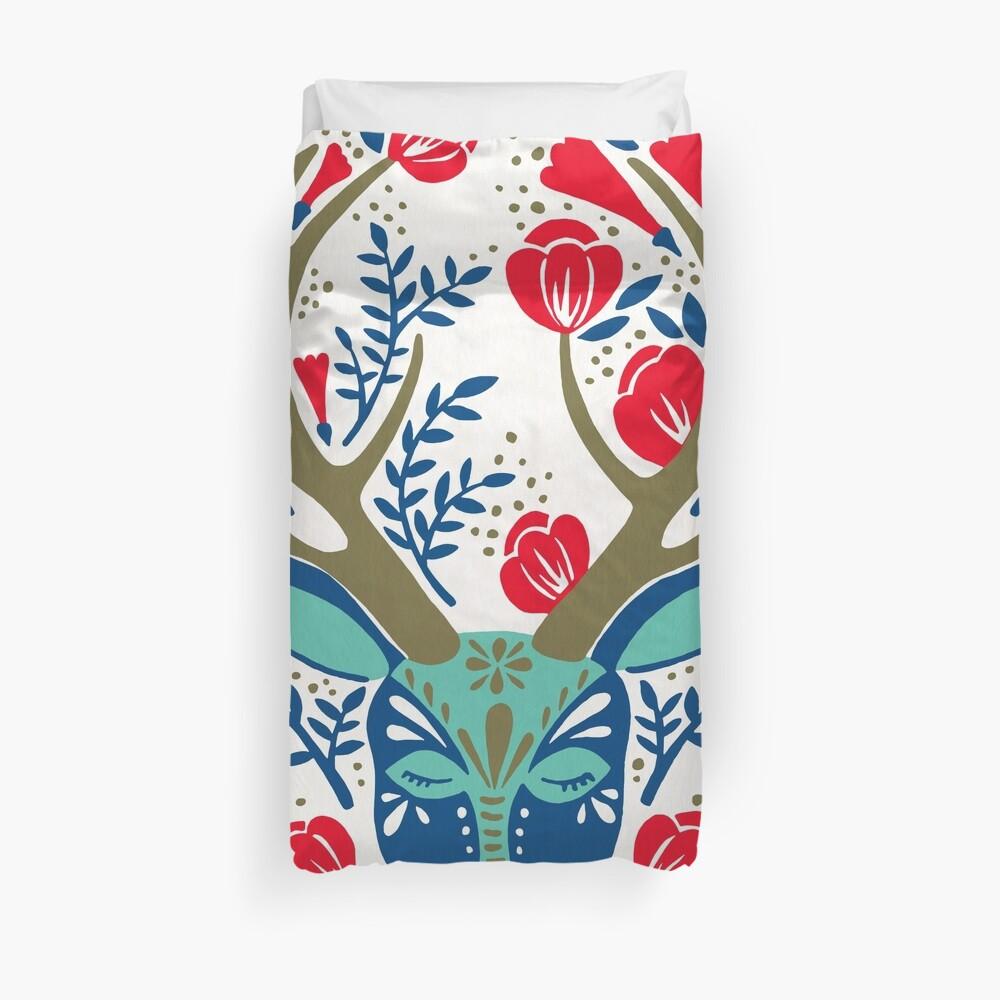 Floral Antlers – Red & Navy Duvet Cover