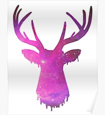 Space and deer modern rose Poster