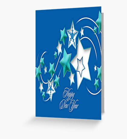 Jade and Blue Happy New Year Shooting Stars Greeting Card