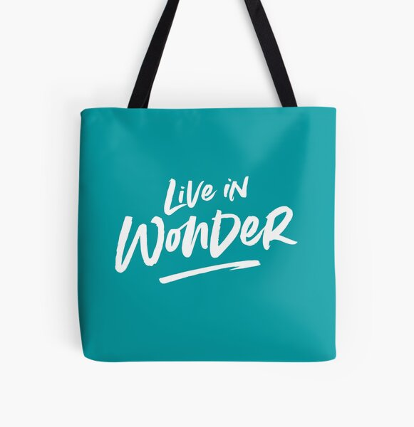 Live in Wonder –white on teal All Over Print Tote Bag
