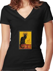 Le Chat D'Amour Love Greeting  Women's Fitted V-Neck T-Shirt