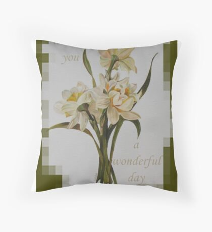 Wishing You A Wonderful Day Double Narcissi In A Bouquet Throw Pillow