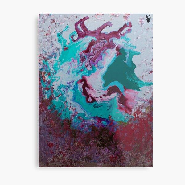 Red Green Pour Art Metal Print