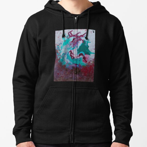 Red Green Pour Art Zipped Hoodie