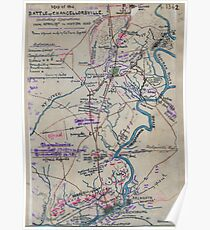 Civil War Maps 0831 Map of the battle of Chancellorsville including operations from April 29th to May 5th 1863 Poster